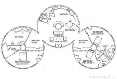 Проект дома геодезического купола из трех последовательно соединенных модулей