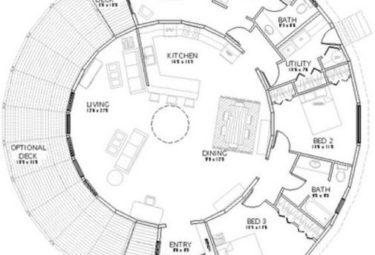 Проект дома геодезического купола с большой террасой
