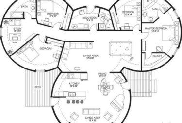 Проект дома геодезического купола из трех модулей соединенных в центре