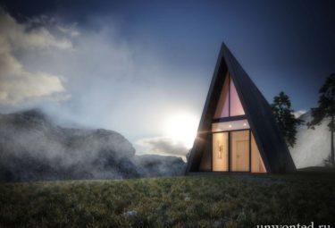 Треугольный дом на утесе вымышленного фьорда