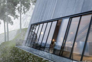 Балкон со стеклянным ограждением над обрывом