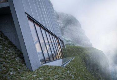 Дом-треугольник Клифф-Хаус с балконом над обрывом