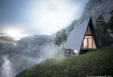 Треугольный дом Клифф-Хаус на вершине склона фьорда
