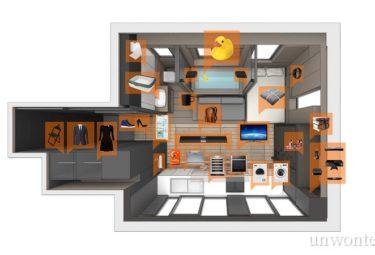 План размещения бытовой техники и приборов в маленькой умной квартире