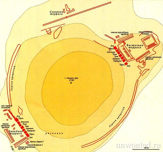 План-схема святилища богов горы Немрут