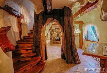 арка в стволе большого дерева и лестница на второй этаж