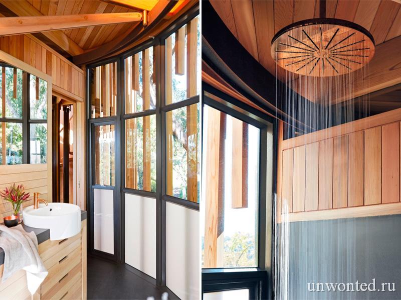 Ванная комната в цилиндрическом доме на дереве