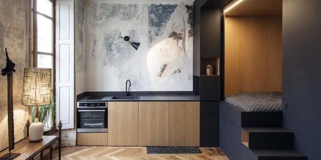 Встроенная спальня в маленьких апартаментах