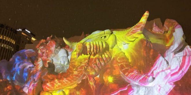 Снежный фестиваль в Саппоро - скульптура дракона Final Fantasy