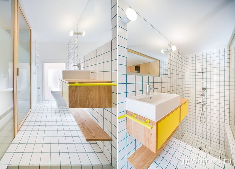 Узкая функциональная ванная комната с глубокой ванной