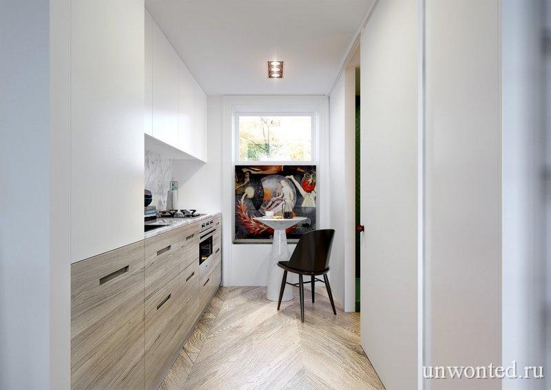 Кухня в квартире студии с антресолью