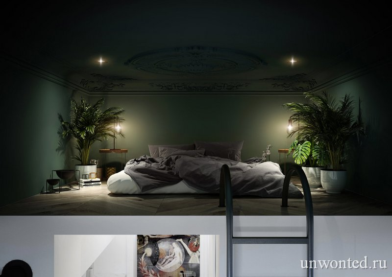 Удобная спальня на антресоли