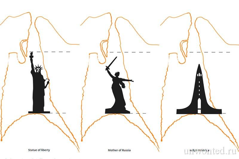 Сравнение размеров магматической камеры вулкана Трихнукагигур с популярными достопримечательностями