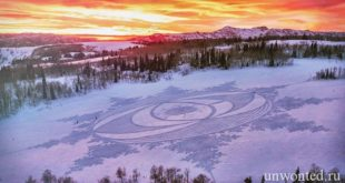 Геометрические узоры на снегу — Снежный Арт Саймона Бека