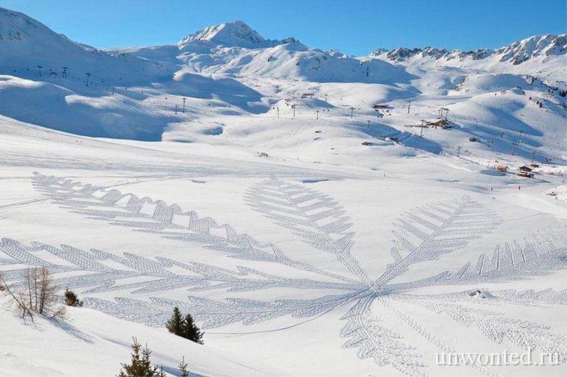 Геометрические узоры на снегу - Лист канабиса Саймон Бек
